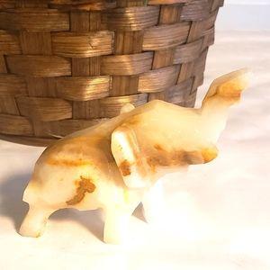 Vintage Carved Marble Elephant Figurine